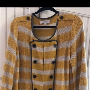 New Loft Yellow and Cream Striped Cardigan Size XL